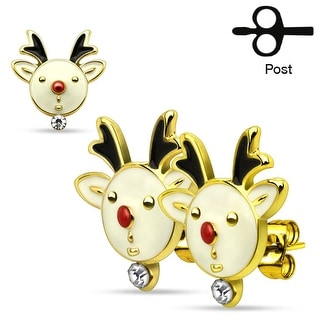 Pair of Christmas Gemmed Reindeers 316L Stainless Steel Stud Earring