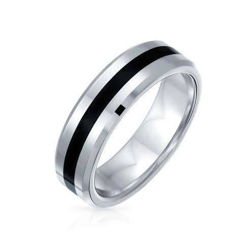Black Silver Two Tone Stripe Wedding Band Titanium Ring For Men 6MM