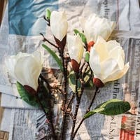 """G Home Collection Rustic Silk Magnolia Flower Stem in White 32"""" Tall"""