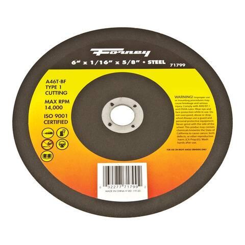 "Forney 71799 Cut-Off Wheel, Metal Type 1, 6"" x 1/16"" x 5/8"""