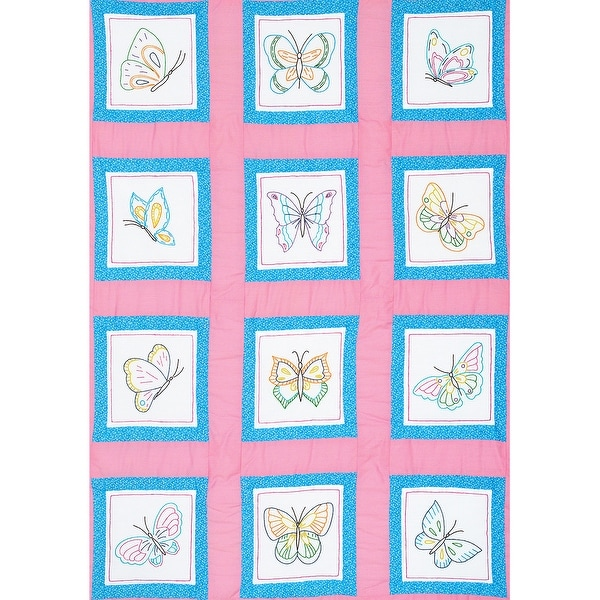 "Themed Stamped White Quilt Blocks 9""X9"" 12/Pkg-Butterflies"
