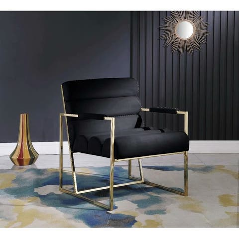 Morden Fort Italian Light Luxury Accent Chair,Contemporary Velvet Upholstered Armchair
