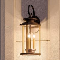 """Luxury Rustic Outdoor Wall Light, 19.25""""H x 8""""W, with Colonial Style Elements, Olde Bronze Finish by Urban Ambiance"""