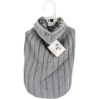 Gray Large - Fashion Pet Faux Fur Hooded Sweater