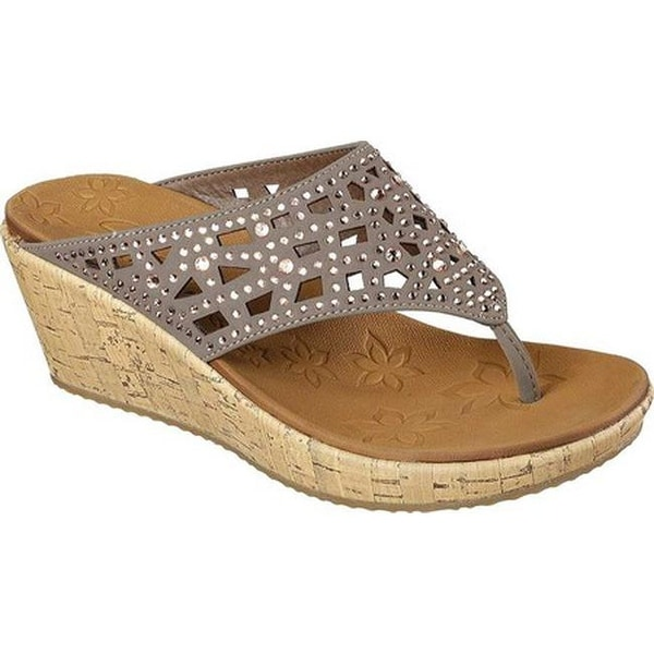 9f956a283752 Shop Skechers Women s Beverlee Dazzled Wedge Sandal Taupe - Free ...