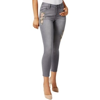 Earl Jean Womens Skinny Jeans Embroidered Faded