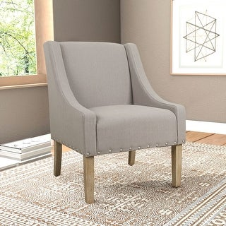 Link to HomePop Modern Swoop Accent Chair with Nailhead Trim - Tan Similar Items in Living Room Chairs