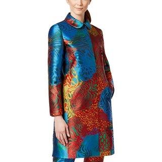 Anne Klein Womens Jacket Jacquard Animal Print