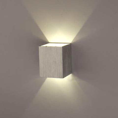 3W LED Square Wall Lamp Hall Porch Walkway Bedroom Livingroom Home Light Fixture - Silver - M