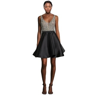 Jovani Rhinestone Embellished V-Neck Fit & Flare Cocktail Dress - 6