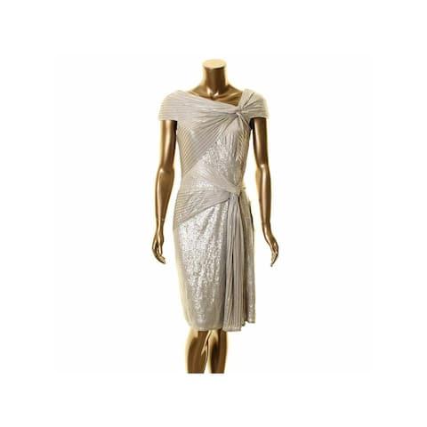 TADASHI SHOJI Silver Above The Knee Dress M
