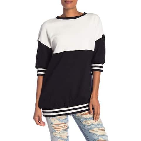 Alice + olivia Gussie Colorblock Sweater, Black/Off White, Small