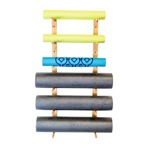 Ultra Fitness Gear Premium Foam Roller And Yoga Mat Rack Bamboo Construction Storage Shelf Mounting Hardware