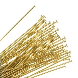 Head Pins, 1.5 Inches Long and 22 Gauge Thick, 50 Pieces, Gold Tone Brass