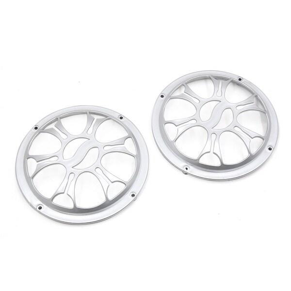 "2Pcs 6"" Dia Silver Tone Plastic Car Audio Speaker Subwoofer Dust Cover Protector"