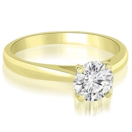 0.50 cttw. 14K Yellow Gold Cathedral Solitaire Round Cut Diamond Engagement Ring