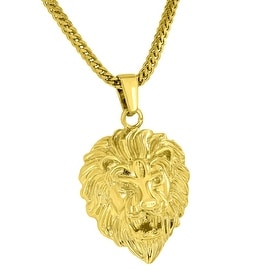 Lion Face Pendant 18K Yellow Gold Plated Free Stainless Steel Franco Necklace On Sale