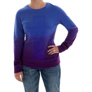 Cowgirl Tuff Western Womens L/S Thermal Tee Crystals Purple H00455