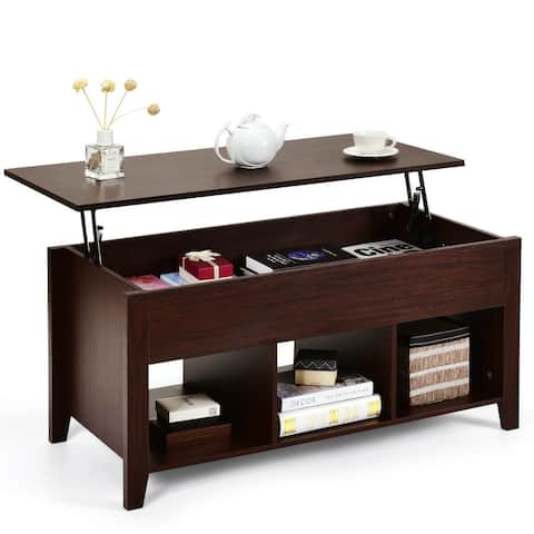 Gymax Lift Top Coffee Table and Lower Shelf Living Room Home Decor