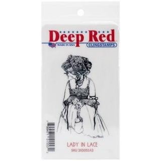 Deep Red Stamps Lady in Lace Rubber Cling Stamp - 1.8 x 3.2