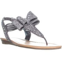 MG35 Shayleen Rhinestone Bow T-Strap Sandals, Pewter