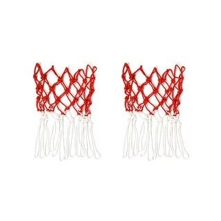 Unique Bargains Nylon Net Mesh Bag White Red Basketball Volleyball Soccer Carrier