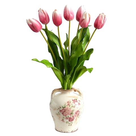 "22"" Dutch Tulip Artificial Arrangement in Flower Print Jar"