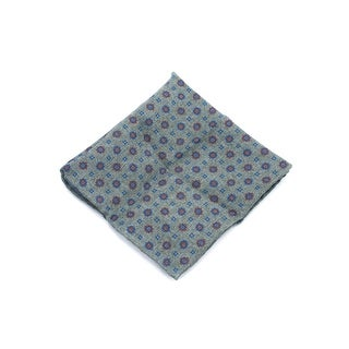 Brunello Cucinelli Men's Green Geometric Wool Pocket Square