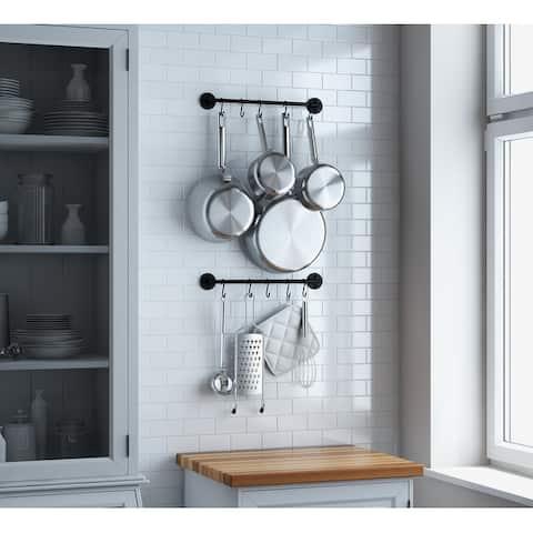 Wallniture Cucina Kitchen Utensil Holder with 20 S Hooks, Pot Racks, Black (Set of 2)
