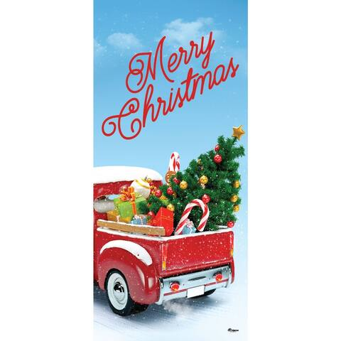 """80"""" x 36"""" Green and Red Truck Christmas Front Door Banner Mural Sign Decoration"""