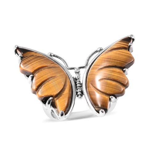 Shop LC Stainless Steel Yellow Tiger Eye Butterfly Ring Size 7 Ct 26
