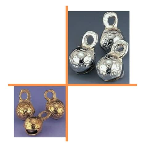 100 Pcs 0.75 inches High Single Cut Embossed Brass Bells, Craft work, Anniversary, Wedding - 0.75 inches High