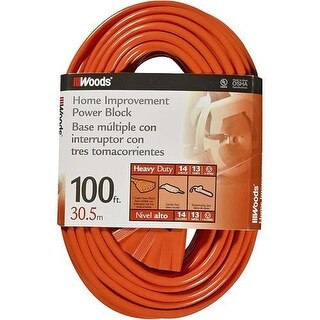 Coleman Cable 0827 SJTW 3-Outlet Power Block Extension Cord, 100'
