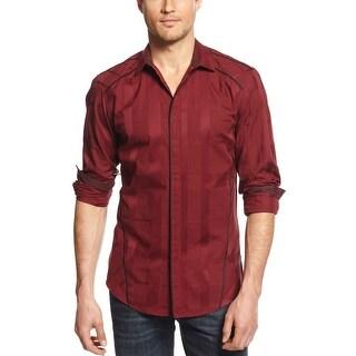 INC International Concepts Slim Fit Embossed Plaid Shirt Maroon Red Large