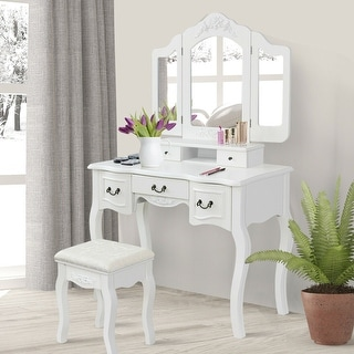 Gymax Bathroom Makeup Vanity Dressing Table Set With Stool Tri-folding White 5 Drawers