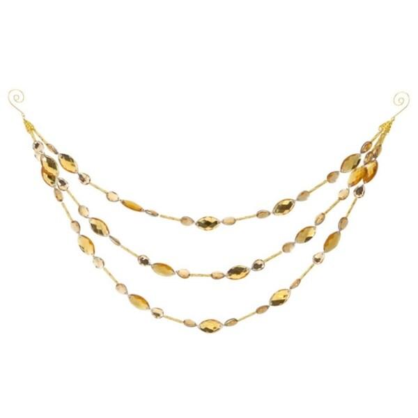 "14"" Shiny Amber Yellow Beaded Jewel Three Tier Drape Christmas Garland"