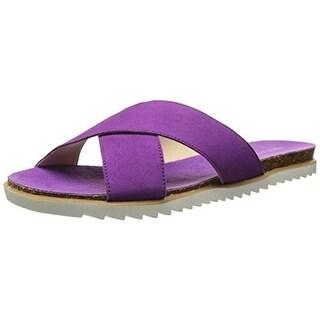 Nine West Womens Don't Judge Nubuck Slide Dress Sandals