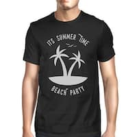 It's Summer Time Beach Party Mens Black Funny Graphic Summer Shirt