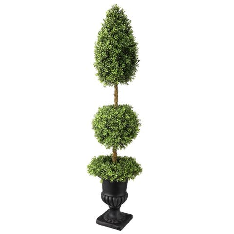 Boxwood Wreath Ball Cone Topiary in Urn 60""