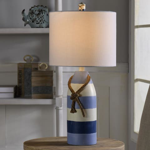 StyleCraft Nautical Striped Blue with Rope Detail Table Lamp