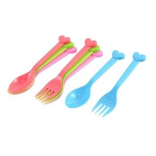 Dinnerware Plastic Heart Print Snacks Spoon Fork Cutlery 8 in 1 Multicolor