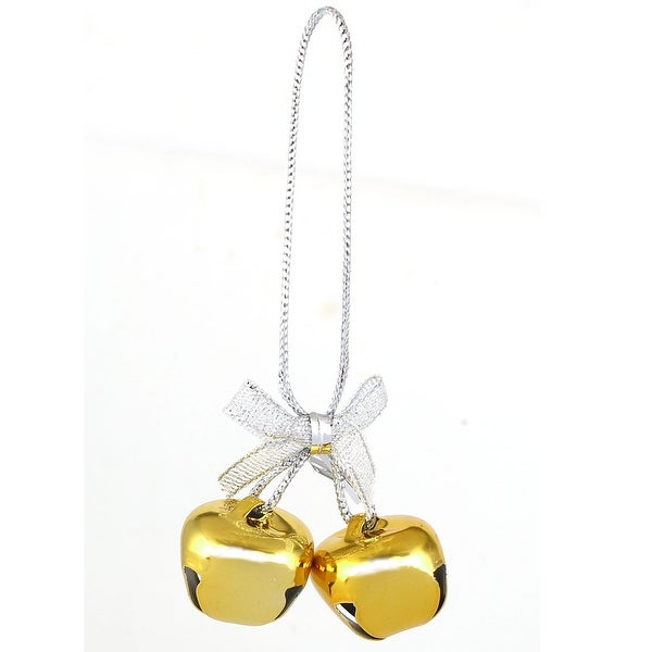Festival Christmas Tree Metal Bowknot Ring Bell Pendant Hanger Decor Gold Tone