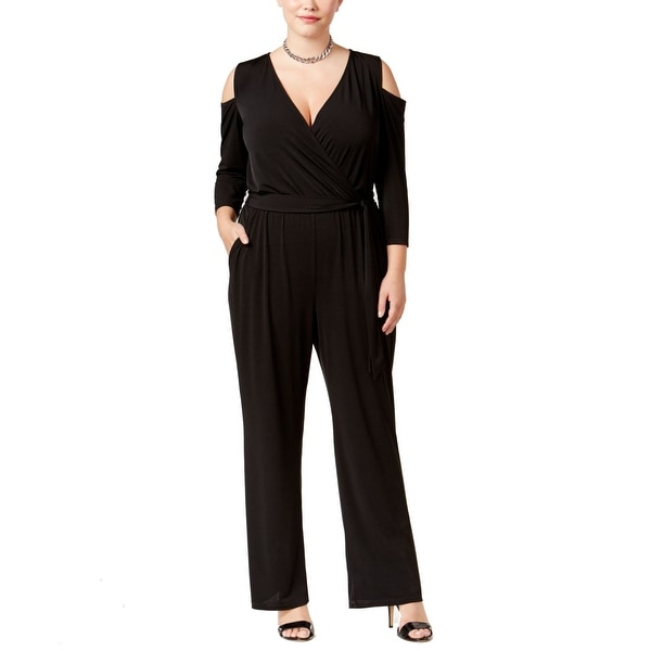 38af623034fc Shop Ny Collection Black Women s 2X Plus Cold-Shoulder Wide-Leg Jumpsuit -  Free Shipping On Orders Over  45 - Overstock.com - 27299462