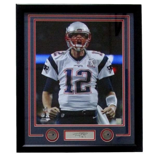 lowest price b9682 d2d90 Tom Brady Framed 16x20 NE Patriots Scream Photo Laser Engraved Signature