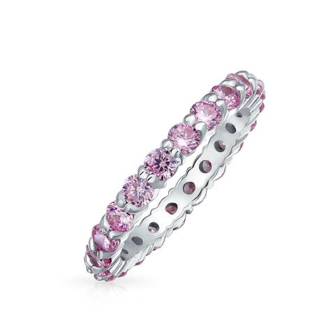 Stackable Pink CZ Band Eternity Wedding Band Ring 925 Sterling Silver