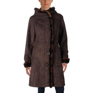 Gallery Womens Petites Pea Coat Faux Suede Faux Fur Lined - pl