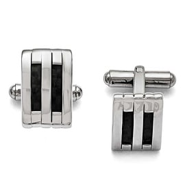 Chisel Stainless Steel Polished Black Carbon Fiber Inlay Cuff Links