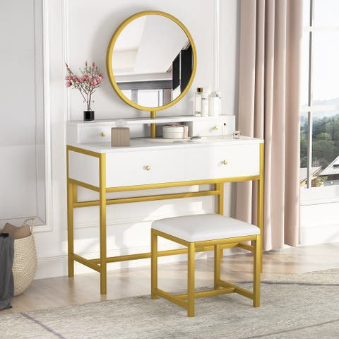 Tribesigns Gold Makeup Vanity Table and Stool Set with Mirror and 4 Drawers, Dressing Desk