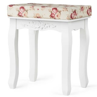 Costway White Vanity Wood Dressing Stool Padded Chair Makeup Piano