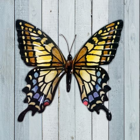 Exhart Metal Colorful Hand Painted Butterfly Wall Art, 14.5 by 13 Inches